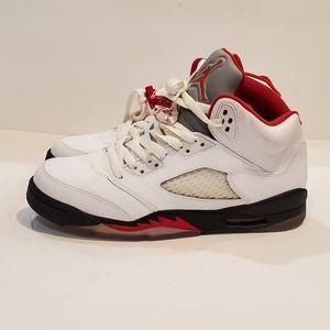 Air Jordan 5 Retro GS 7y white fire red black